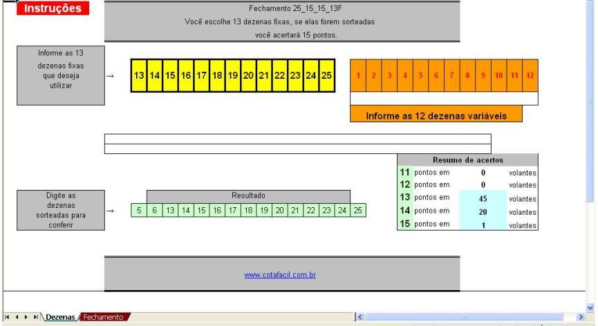 Lotofácil Planilha para Fechamento de 15 Pontos com 25 números em 66 Apostas