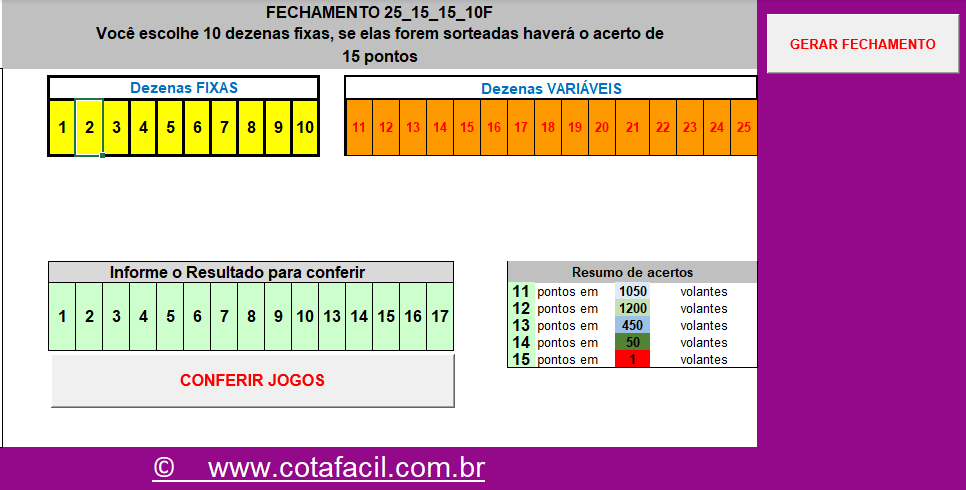 Lotofácil 15 acertos